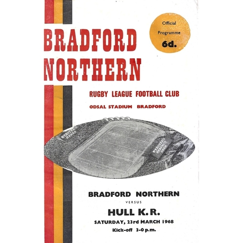 1967/68 Bradford Northern v Hull Kingston Rovers Rugby League Programme