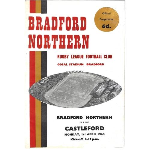 1967/68 Bradford Northern v Castleford Rugby League Programme