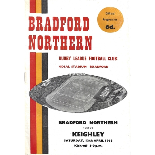 1967/68 Bradford Northern v Keighley Rugby League Programme