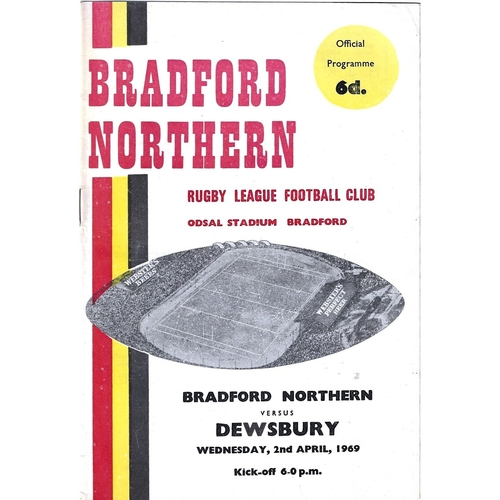1968/69 Bradford Northern v Dewsbury Rugby League Programme