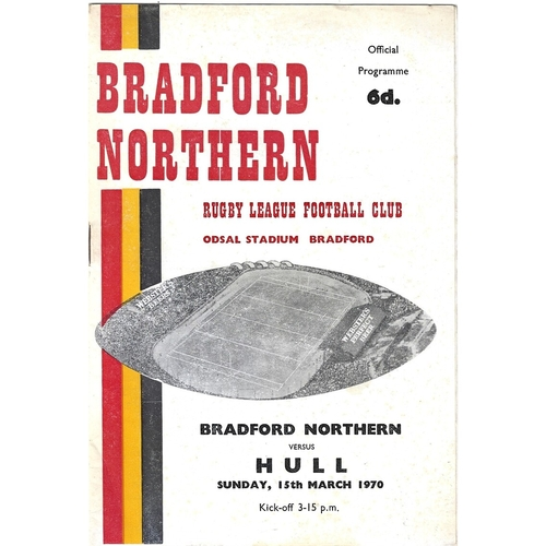 1969/70 Bradford Northern v Hull Rugby League Programme & Team Sheet