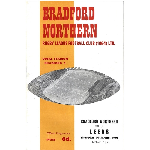 1965/66 Bradford Northern v Leeds Rugby League Programme