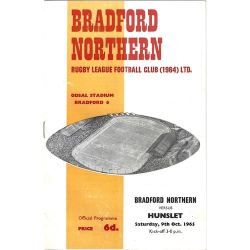 1965/66 Bradford Northern v Hunslet Rugby League Programme