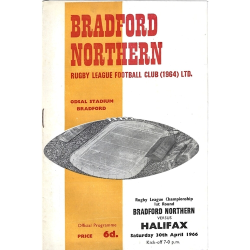 1965/66 Bradford Northern v Halifax Rugby League Challenge Cup 1st Round Programme