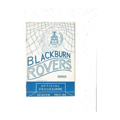 1965/66 Blackburn Rovers v Northampton Town Football Programme
