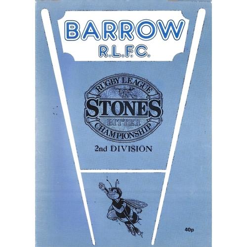 Barrow/Barrow Braves Home Rugby League Programmes