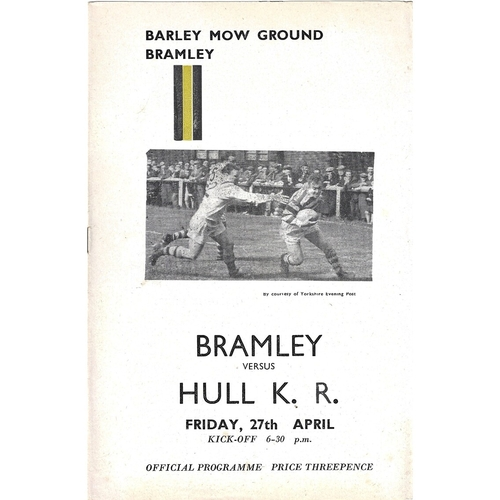 1961/62 Bramley v Hull Kingston Rovers Rugby League Programme