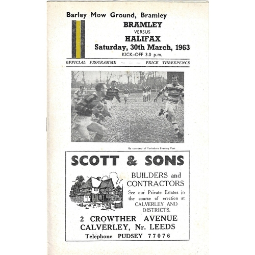 1962/63 Bramley v Halifax Rugby League Programme