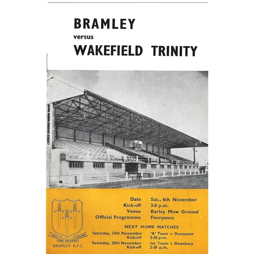 1965/66 Bramley v Wakefield Trinity Rugby League Programme