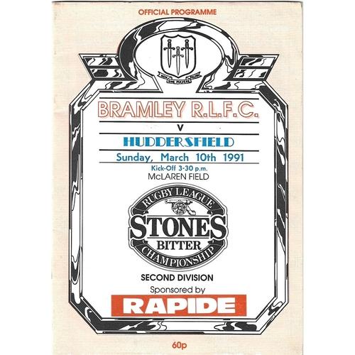1990/91 Bramley v Huddersfield Rugby League Programme