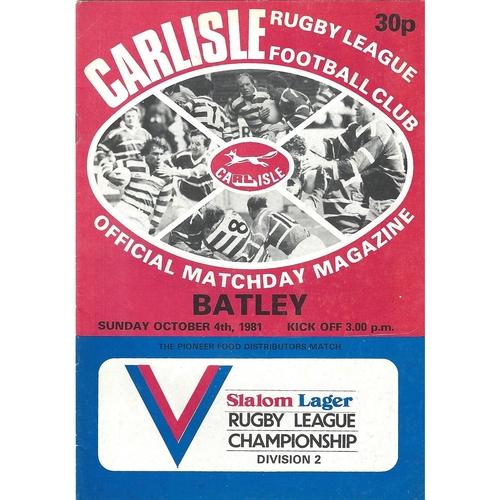 1981/82 Carlisle v Batley Rugby League programme