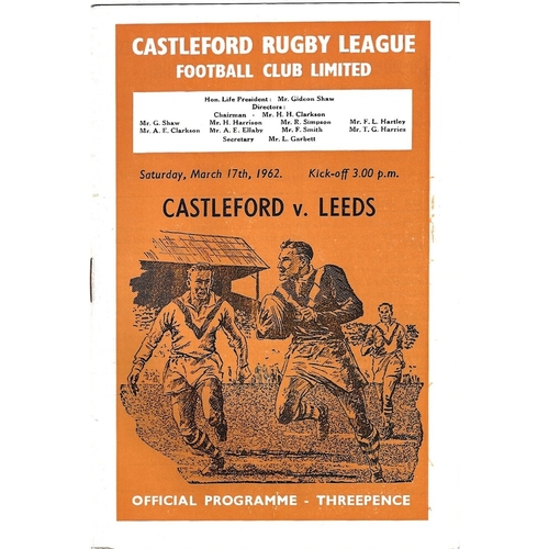 1961/62 Castleford v Leeds Rugby League Programme
