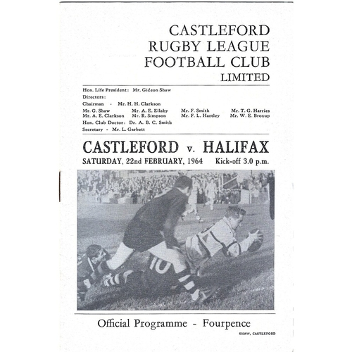 1963/64 Castleford v Halifax Rugby League Programme