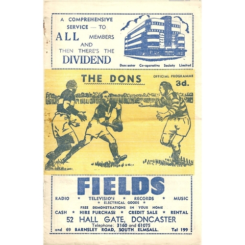 1960/61 Doncaster v Warrington Rugby League Challenge Cup 1st Round Programme