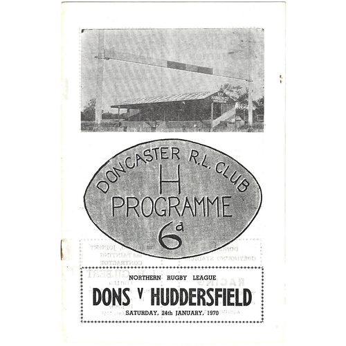 1969/70 Doncaster v Huddersfield Rugby League Programme