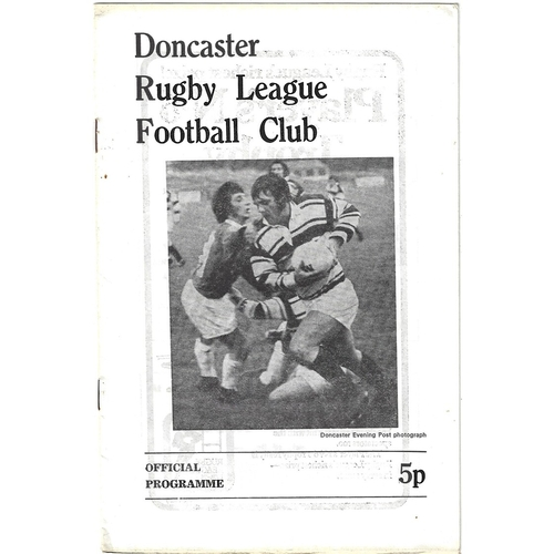 1974/75 Doncaster v Leigh Rugby League Programme