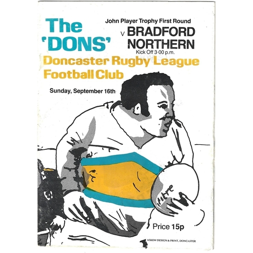 1979/80 Doncaster v Bradford Northern John Player Trophy 1st Round Rugby League Programme