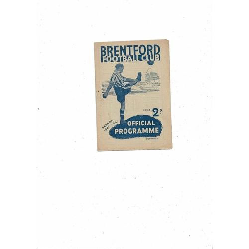 1946/47 Brentford v Aston Villa Football Programme