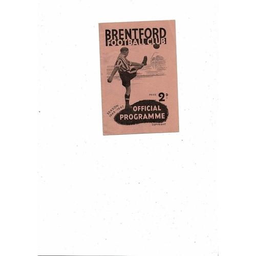 1946/47 Brentford v Derby County Football Programme