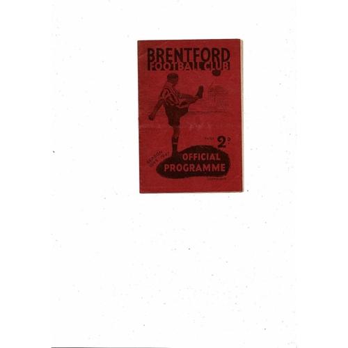1946/47 Brentford v Huddersfield Town Football Programme 1st Home Game after War