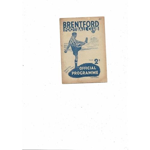 1946/47 Brentford v Middlesbrough Football Programme