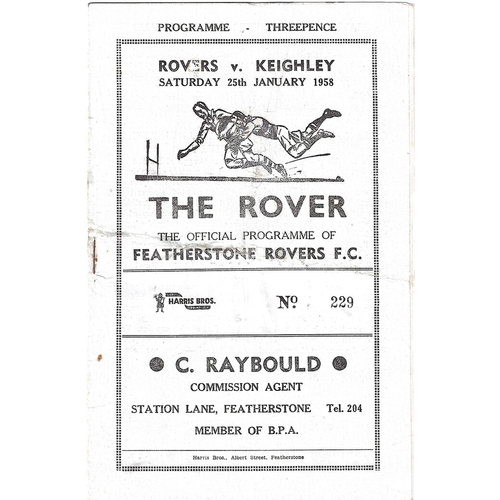 1957/58 Featherstone Rovers v Keighley Rugby League Programme
