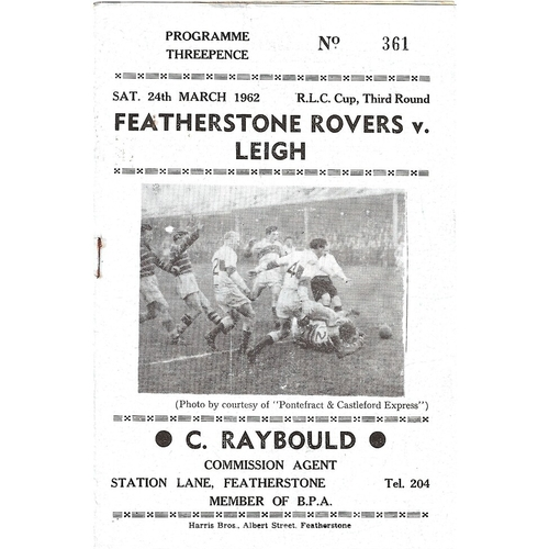 1961/62 Featherstone Rovers v Leigh Rugby League Challenge Cup 3rd Round Programme