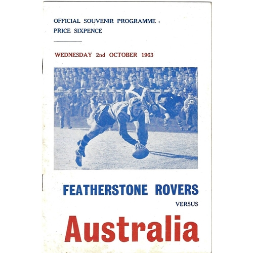 1963/64 Featherstone Rovers v Australia Rugby League Tour Match Programme