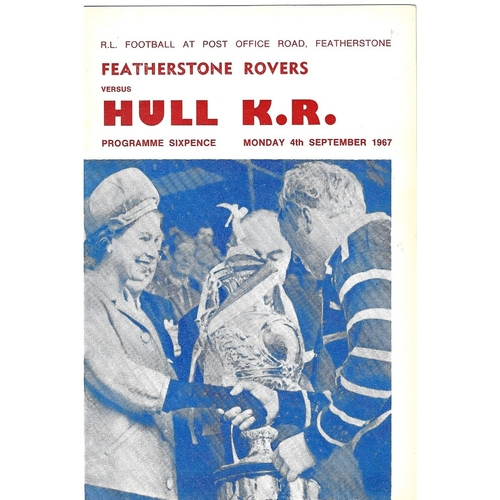 1967/68 Featherstone Rovers v Hull Kingston Rovers Rugby League Programme