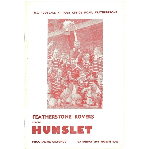 1967/68 Featherstone Rovers v Hunslet Rugby League Programme
