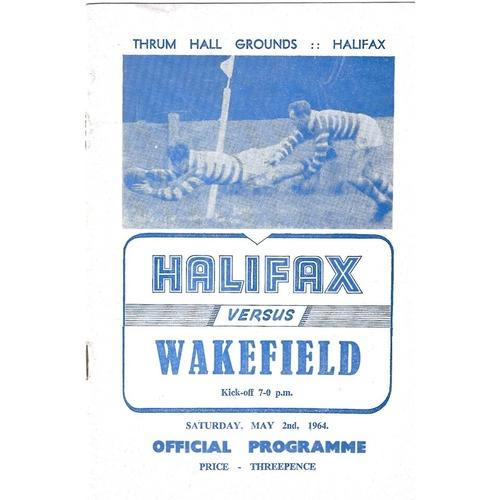 1963/64 Halifax v Wakefield Trinity Rugby League Programme