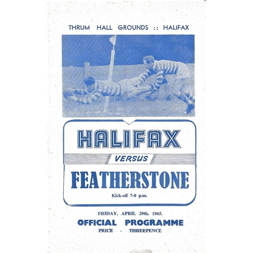 1964/65 Halifax v Featherstone Rovers Rugby League Programme