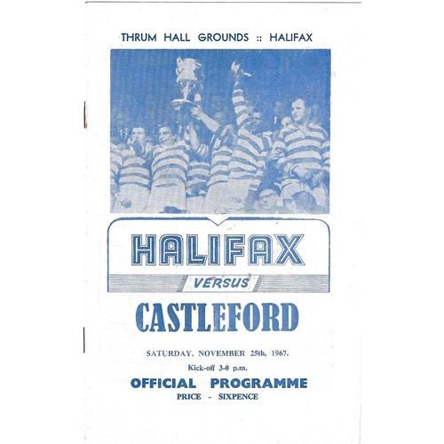 1967/68 Halifax v Castleford Rugby League Programme