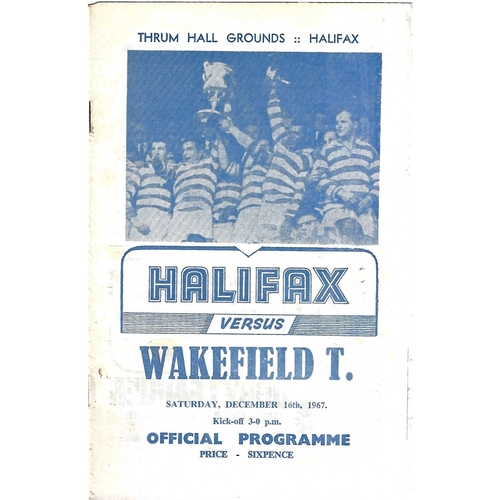 1967/68 Halifax v Wakefield Trinity Rugby League Programme