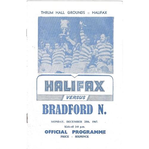 1967/68 Halifax v Bradford Northern Rugby League Programme