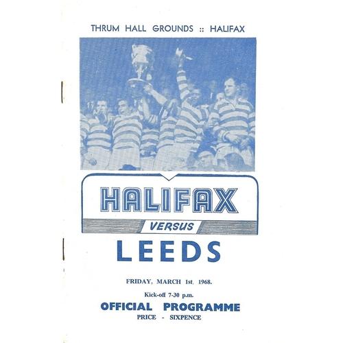 1967/68 Halifax v Leeds Rugby League Programme