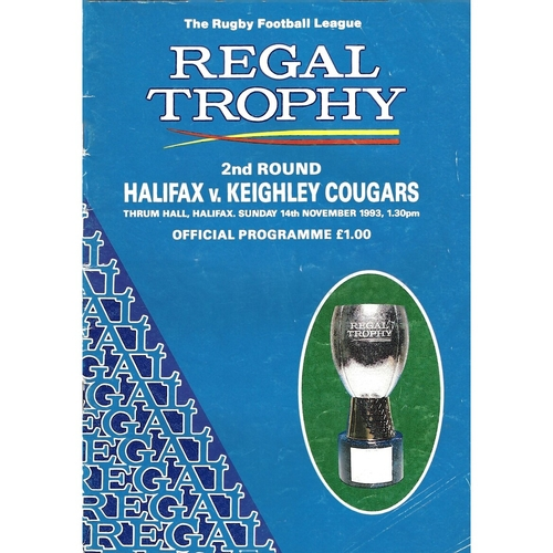 1993/94 Halifax v Keighley Cougars Rugby League Regal Trophy 2nd Round Programme