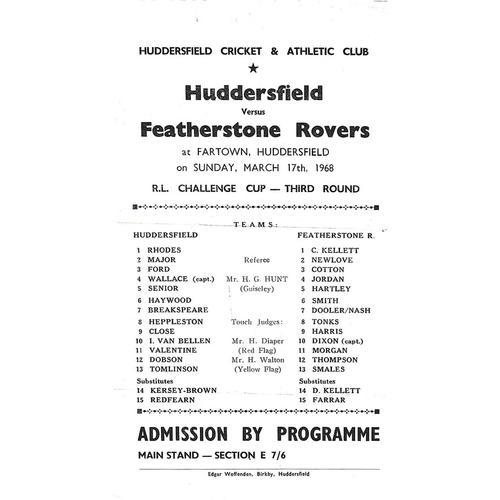 1967/68 Huddersfield v Featherstone Rovers Rugby League Challenge Cup 3rd Round Programme