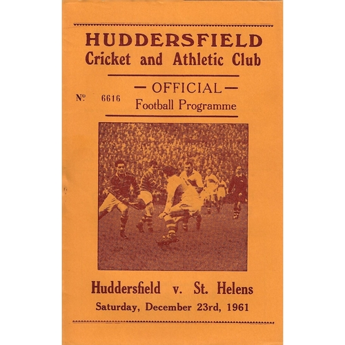 1961/62 Huddersfield v St. Helens Rugby League Programme