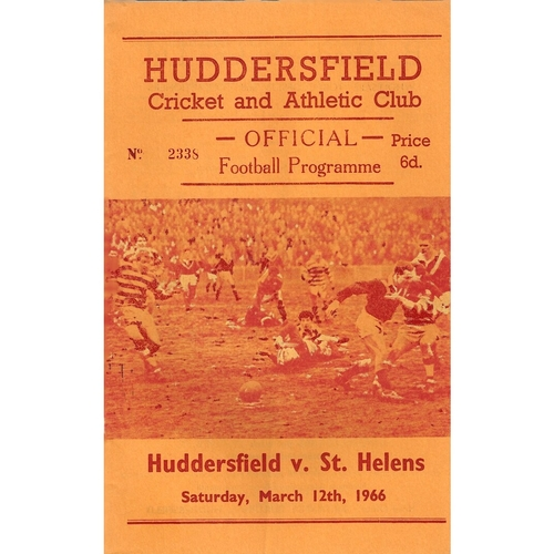 1965/66 Huddersfield v St. Helens Rugby League Programme