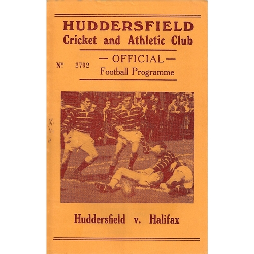 1963/64 Huddersfield v Halifax Rugby League Programme