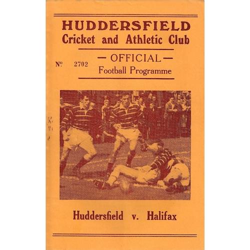 1963/64 Huddersfield v Halifax Rugby League Programme