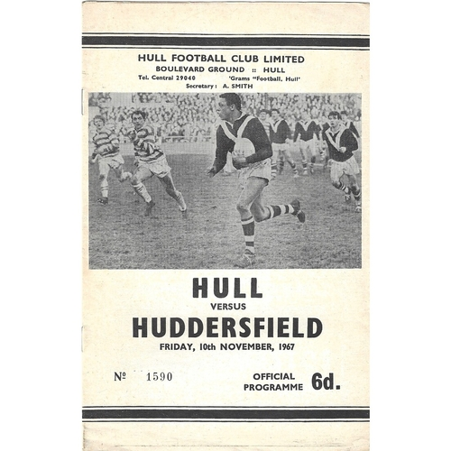 1967/68 Hull v Huddersfield Rugby League Programme