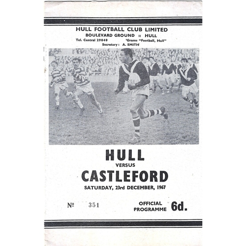 1967/68 Hull v Castleford Rugby League Programme