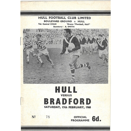 1967/68 Hull v Bradford Northern Rugby League Programme