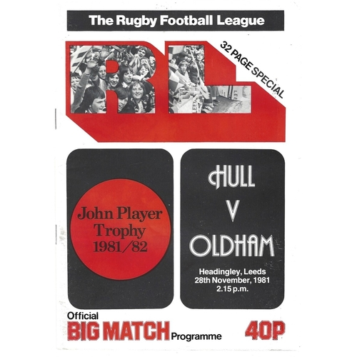 1981/82 Hull v Oldham John Player Trophy Semi Final Rugby League Programme