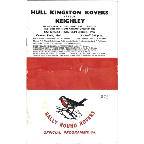 1962/63 Hull Kingston Rovers v Keighley Rugby League Programme