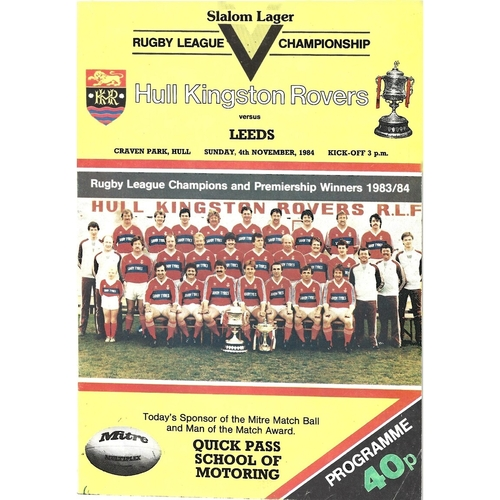 1984 Hull Kingston Rovers v Leeds Rugby League Programme
