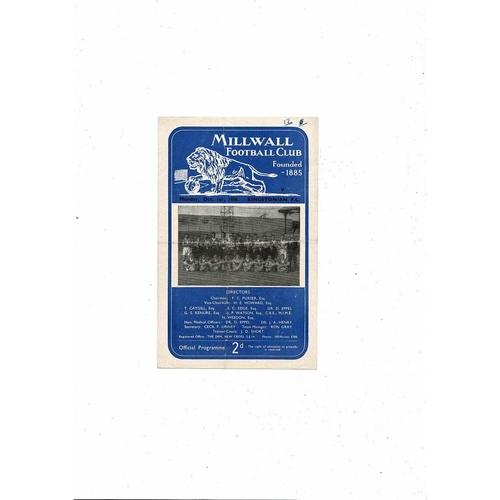 1956/57 Millwall v Kingstonian London Challenge Cup Football Programme