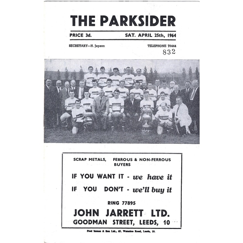 1963/64 Hunslet v Castleford Rugby League Programme